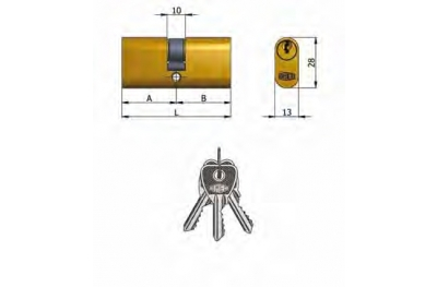 Двухцилиндровый OMEC латунь Овальный 5 штыри 70mm L 35/35