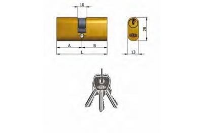 Двухцилиндровый OMEC латунь Овальный 5 штыри 70mm L 27/43