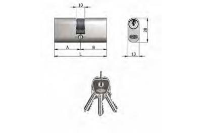 Двухместный OMEC цилиндр из латуни никель Овальные 5 штыри 64mm L 27/37
