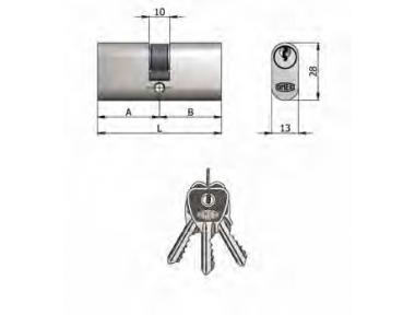 Двухместный OMEC цилиндр из латуни никель Овальные 5 штыри 65mm L 30/35