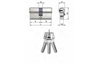 Двухместный OMEC цилиндр из латуни никель образный 6 Pins 90мм L 40/50