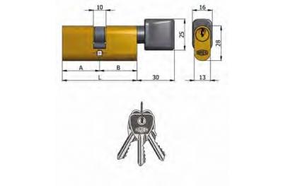 Двухместный OMEC цилиндр с ручкой из латуни Овальные 5 Pins 60мм L 30/30