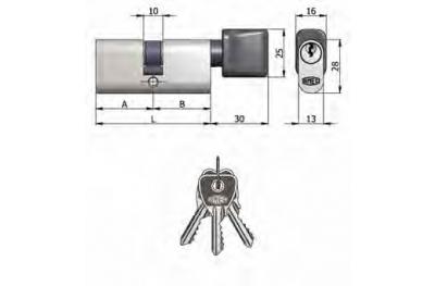 Двухместный OMEC цилиндр с ручкой из латуни Овальные Никель 5 Pins 60мм L 30/30