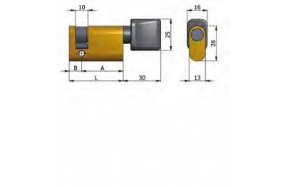 Полуцилиндр OMEC с ручкой из латуни Овальном 40мм L 30/10