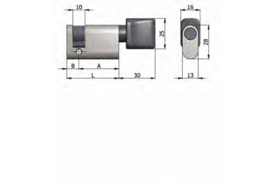 Полуцилиндр OMEC с ручкой из латуни Овальные никель 40мм L 30/10