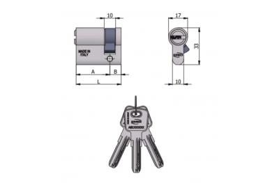 Полуцилиндр в форме Omec, 6 контактов, L 60 мм 30/30